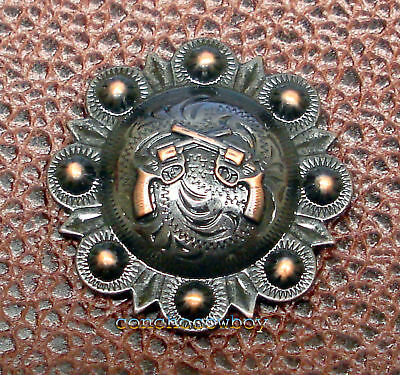 WESTERN HEADSTALL SADDLE TACK COPPER PISTOLS BERRY CONCHOS 1-1/2