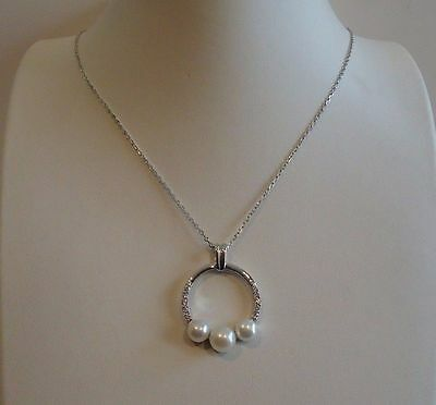 LADIES 925 STERLING SILVER CIRCLE W/3 GRADUATED PEARL NECKLACE PENDANT W/ACCENTS