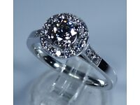 NEW GIA Certified 18k White Gold 0.50ct Diamond Halo Engagement Ring