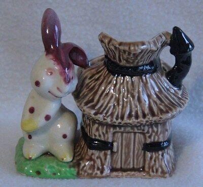 purple spotted Rabbit and hut Hand painted vintage Rare MINT (White Rabbit Hut)