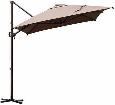 Offset Cantilever Umbrella 9 by 7-Feet Rectangular Umbrella with Cross Base
