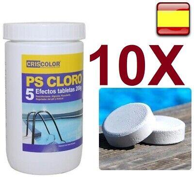 Cloro para piscina multiacción 2kg, 10 tabletas de 200g