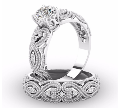 2 75ct engagement ring set two rings