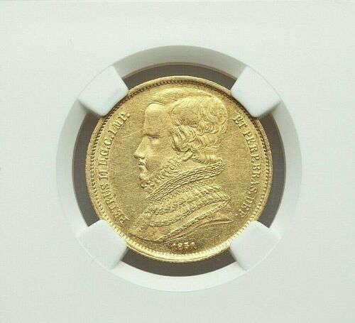 1851 BRASIL DOM PEDRO II GOLD 10000 REIS NGC AU-DETAILS (OBVERSE SPOT REMOVED)