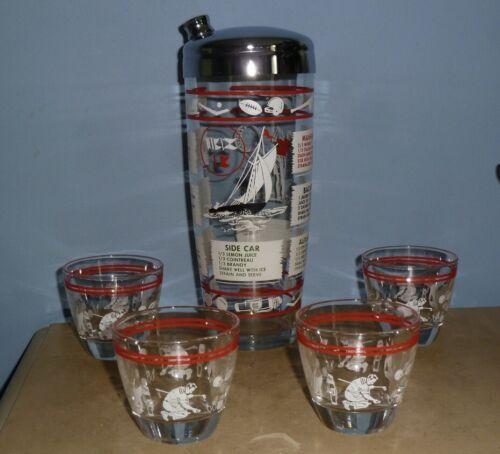 VTG HAZEL ATLAS RECIPE COCKTAIL SHAKER  CHROME LID & 4 SHOT GLASSES, SPORTS