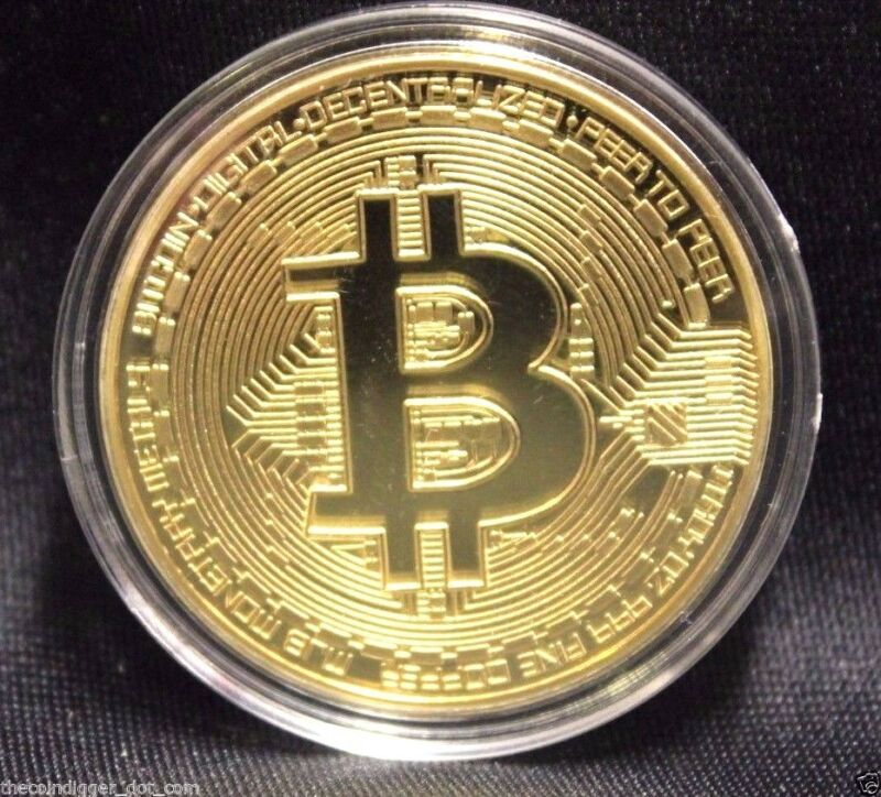 BTC Gold Plated BITCOIN 1oz Copper Coin Round In Capsule USA Seller & Miner ✯ hi