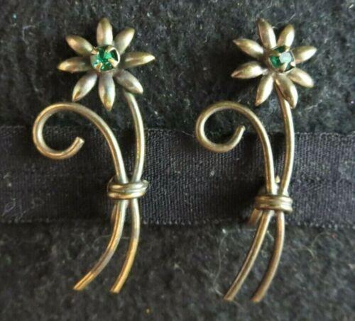 Vintage Antique? Art Deco Emerald Green Rhinestone Flower SB Earrings Brass?