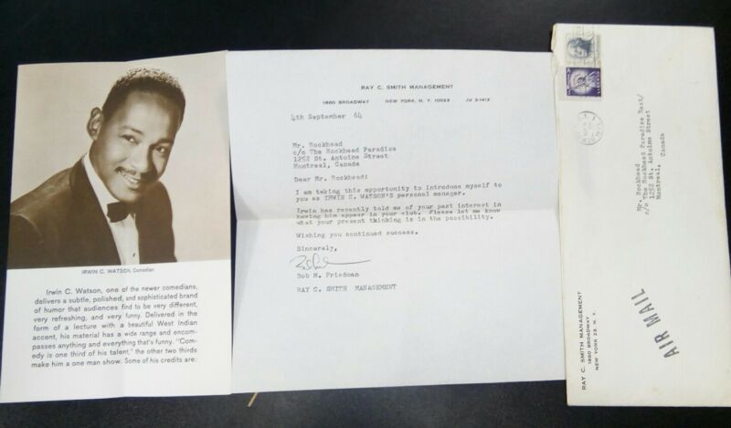 1964 Comedian IRWIN WATSON Promotional Flyer &ROCKHEAD PARADISE Jazz Club letter