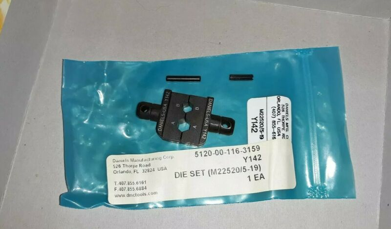 Daniels Mfg. Corp. Hx4 Crimper Die Set Y142 M22520/5-19 NOS