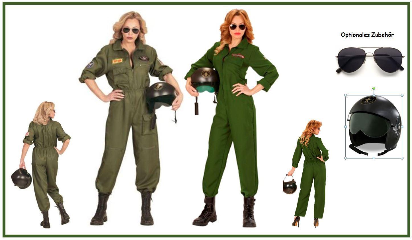 PILOTIN Kampfjet Damen Kostüm Mottoparty Pilot Jet Top Gun Karneval, (K)