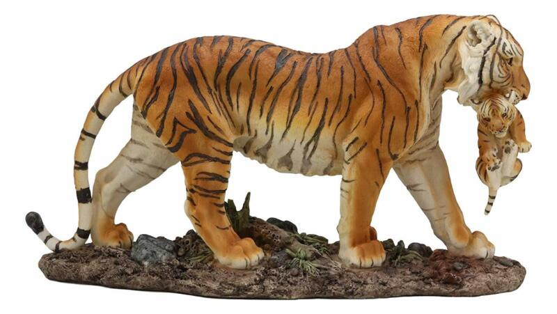 Ebros 14 Inch Wide Large Orange Tiger Mother Carrying Cub Statue Home Decor