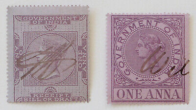 Pair of Stamps GOVERNMENT OF INDIA Queen Victoria One Anna