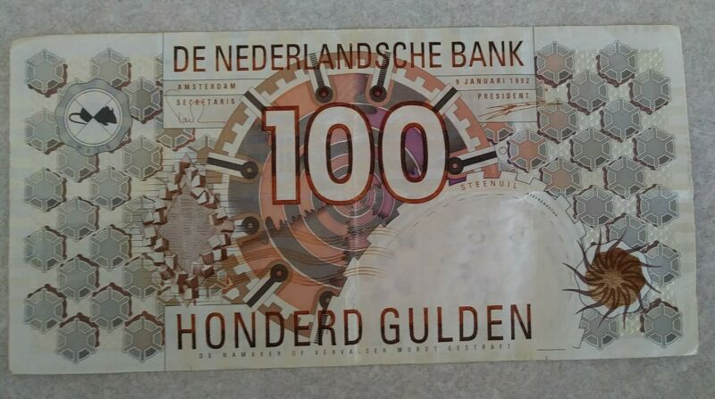 Netherlands 100 Gulden 1992 Little Owl Pick Paper Bill World Currency Foreign Ni