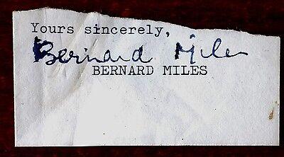 BERNARD MILES ACTOR SIGNED PIECE OF PAPER AUTOGRAPH