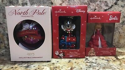 Disney Mickey Mouse ,Barbie And NPT CO.Blown Glass Christmas Tree Ornament ()