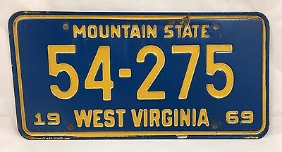 1969 West Virginia Mountain State License Plate Tag 54-275