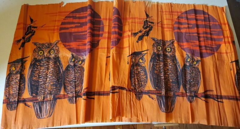 Vintage Crepe/Paper Halloween Owl And Witch Panel 1950