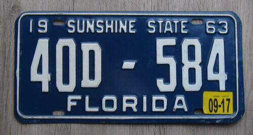 1963 Florida License Plate Hernando County Tag 40D - 584