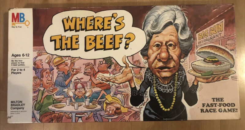 Wheres the Beef MB Board Game 1984 Wendys NOS