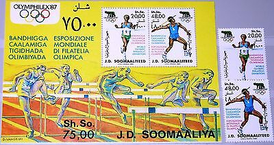 SOMALIA 1987 398-99 Block 23 578-79a OLYMPHILEX Rome Stamp Fair Sport MNH