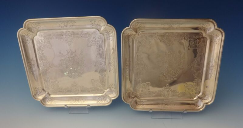 Tane Mexican Sterling Silver Serving Plates Pair Square Hand Engraved (#0146)