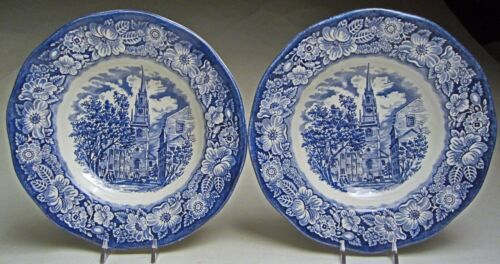 "Vintage Liberty Blue Dinnerware Pair Rim Soup Bowls 8 ¾"" Old North Church Scene"