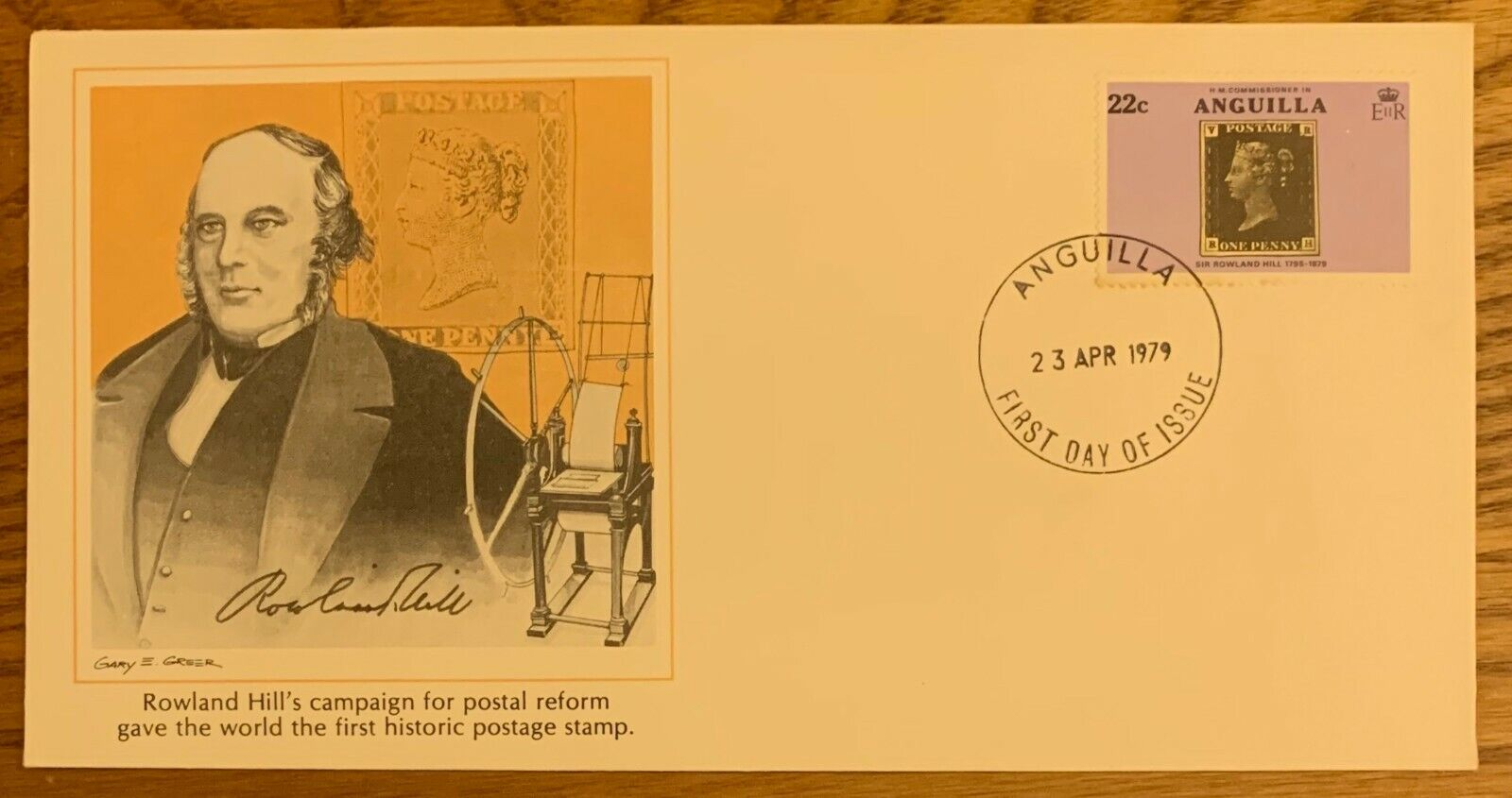 ROWLAND HILL, RARE 4-23-1979 ANGUILLA FIRST DAY COVER - $2.97