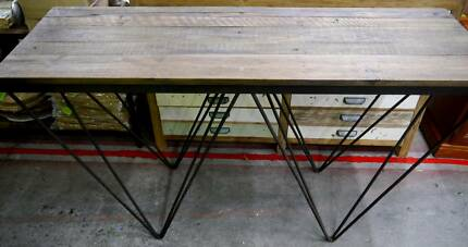 New Rustic Industrial Recycled Timber Hair Pin Console Hall Table