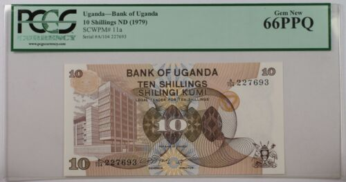 (1979) Bank of Uganda 10 Schillings Note SCWPM# 11a PCGS 66 PPQ Gem New