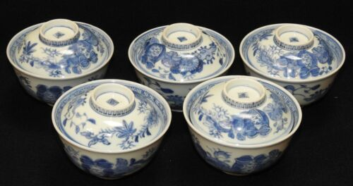 LOT of 5 matching Antique Japanese Blue & White Porcelain Covered Rice Bowls