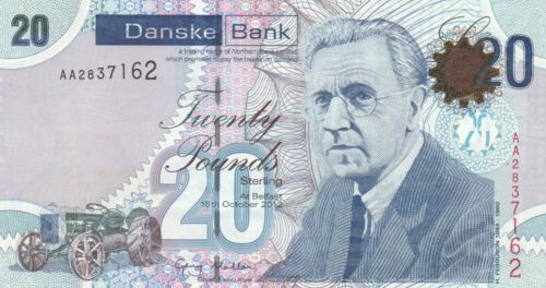 2 notes Northern Ireland 20 pounds 2012 (2013) P-213 AA-Prefix, UNC
