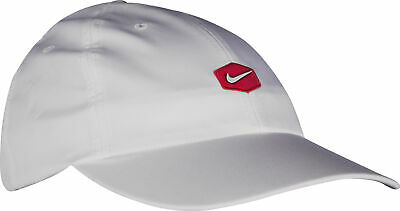 Nike Vintage Running Cap White Adjustable Strap 6 Panel Design