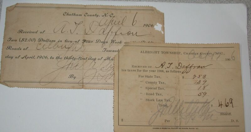 2 Tax Receipts A T DAFFRON Albright Township Chatham County, NC 1906