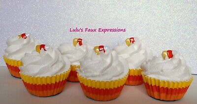 Faux MINI CUPCAKES Fake Food HALLOWEEN CANDY CORN stripes (6)
