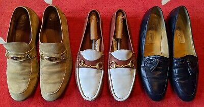 Vintage Gucci Mens Loafers Slip-ons Lot Of Three Pairs