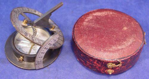 England Equicnoctial Sundial circa 1890, Exc. Condition w/Original Case