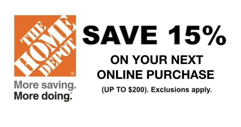 Home Depot 15%Off Online Purchase (Max $200) Exp 12/06 Fast message Delivery
