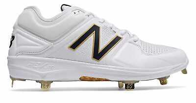 New Balance Low-Cut 3000v3 Metal Baseball Cleat Mens Shoes White with Navy Size