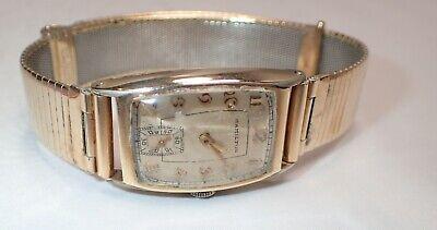 Vintage Curved Hamilton Wrist Watch with Forstner Komfit Band Gold Filled