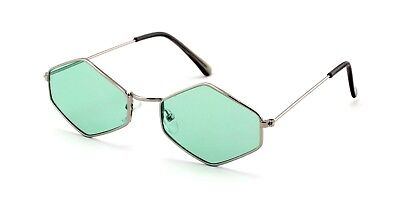 Metal Frame Slim Temple Color Lens Hexagon Sunglasses Rock and (Rock And Roll Sunglasses)