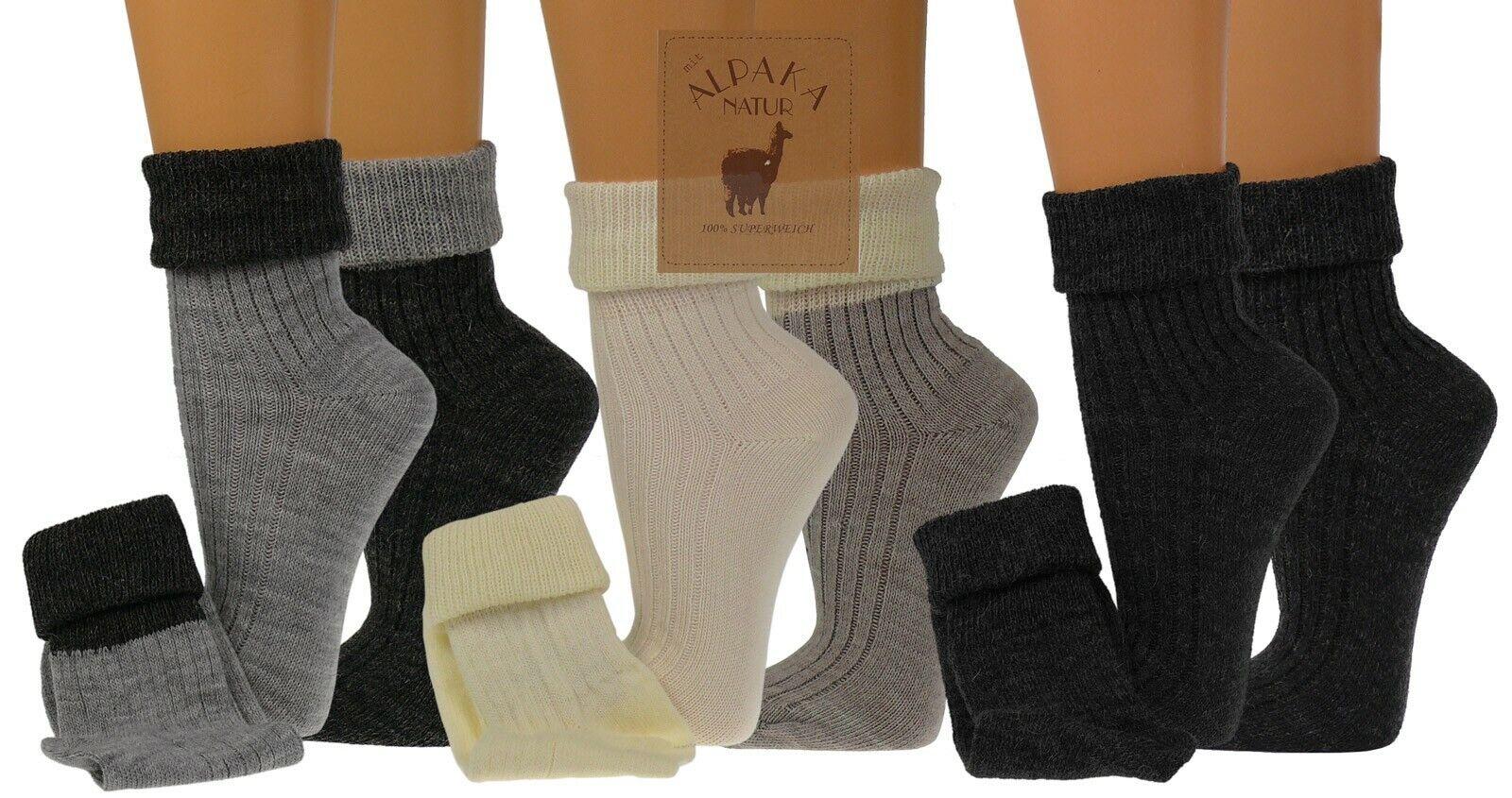 2 Paar flauschig Socken mit Alpakawolle für Damen mit Umschlag Socken Socke