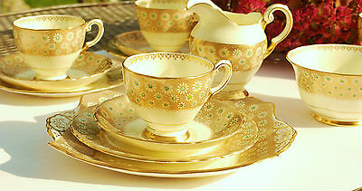 Tuscan  Tea cup saucer trio  Green Gold Vintage Art Deco China English