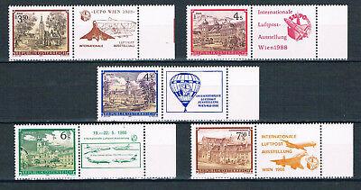 Österreich Internationale Flugpostausstellung 1988 mit Zudrucken,postfrisch!