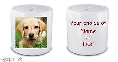 Perro Labrador Personalizado Cerámica Blanca Caja de Dinero / Hucha