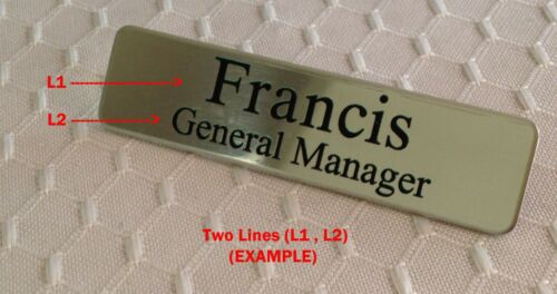 Personalized - Custom  Metal Name Badge - Tag  SILVER w/ Fused Military Posts