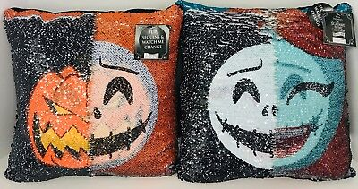 Nightmare Before Christmas Disney Set Of 2 Sally & Jack Sequin Pillows Halloween ()