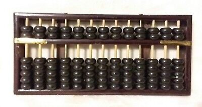 VTG Chinese Japanese Wood Wooden Brass Metal ABACUS 13 Rods 91 Beads