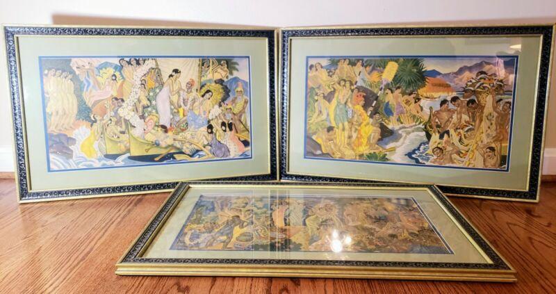 "Matson Murals 17½ x 27"" Eugene Savage 3 Litho Prints SET Framed Hawaii Lua Dance"
