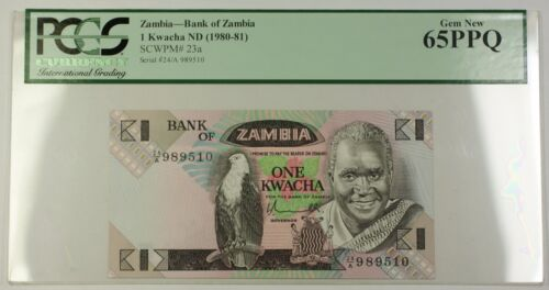 (1980-81) No Date Bank of Zambia 1 Kwacha Note SCWPM# 23a PCGS Gem New 65 PPQ