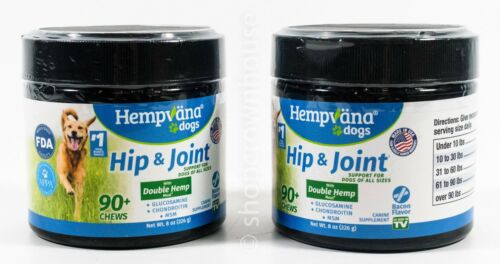2 Hempvana Dogs Hip Joint Canine Supplement 180 Chews Bacon Flavor 07/2021 - $23.49